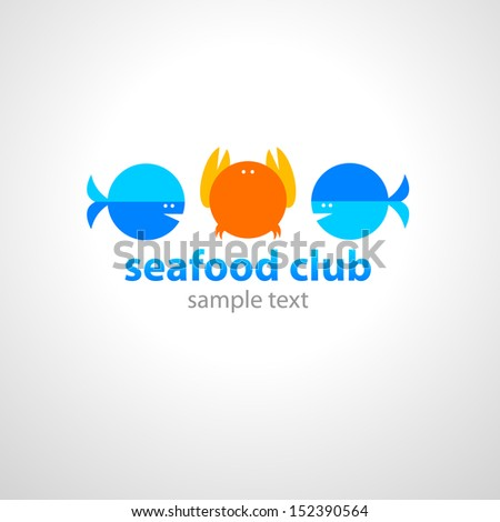 concept for seafood club - stock vector