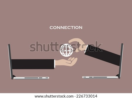 Concept for using global network technology for virtual business connection. Vector illustration of arms coming out of mobile laptops to embrace a global network symbol. - stock vector
