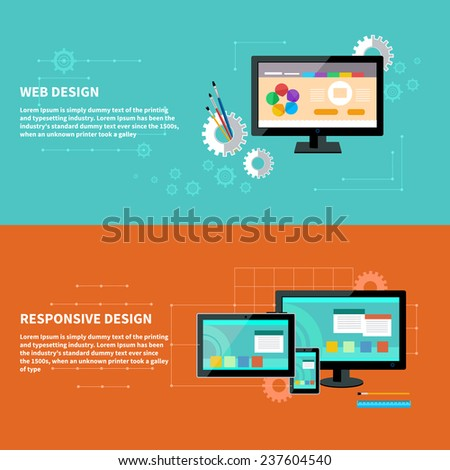 Concept for web design with computer and design tools and software and for responsive web design as seen on desktop monitor, tablet and smartphone - stock vector