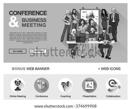 Concept for website, infographics. Flat bright design of web banner template with outline bonus icons of coworking, business people training, corporate conference, sales meeting presentation. - stock vector