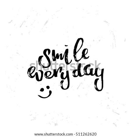 concept handwritten poster smile everyday creative stock vector