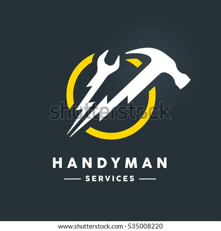 Concept handyman services logo with white abstract spanner and hammer flash tools in yellow circle icon on dark cool grey background. Vector illustration.