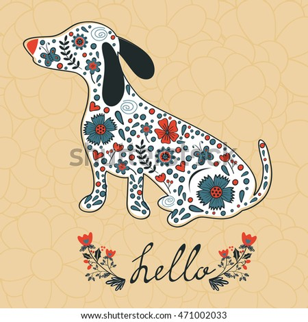 Concept hello card with floral badger dog