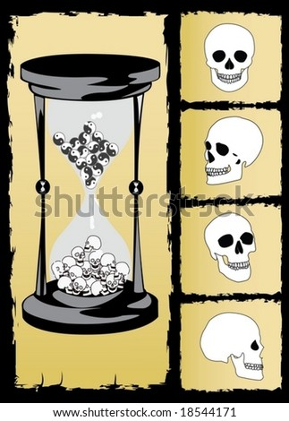 concept hourglass and skull vector - stock vector