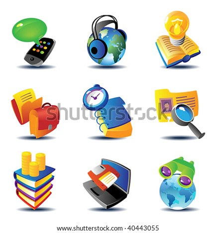 Concept icons for business communications and media. Vector illustration. - stock vector