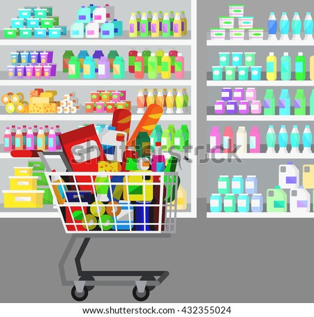 Concept illustration for Shop, supermarket cart. Vector supermarket cart. Healthy eating and eco food in supermarket cart. Vector flat illustration for supermarket. - stock vector