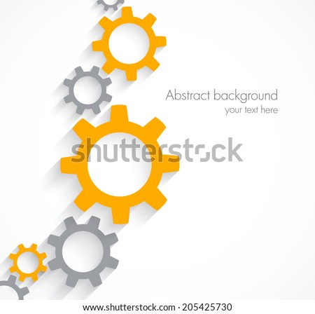 Concept illustration for teamwork design with gears in orange and gray color - stock vector