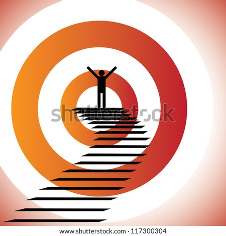 Concept illustration of a person reaching goal and winning a challenge. The graphic shows a determined & confident person achieving success by reaching the target and winning - stock vector