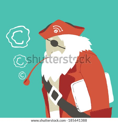 Concept illustration of Copyright infringement or Software Piracy. A computer hacker. A Pirate with notebook. - stock vector