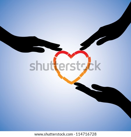 Concept illustration of healing of broken heart. The graphic shows supporting hands helping heart recover from emotional pain and trauma - stock vector