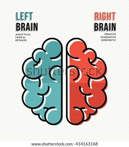 the left and right hemisphere of the human brain We'll explore the theory that people are either left-brained or right-brained,  left brain vs right brain:  the human brain is constantly reorganizing itself.