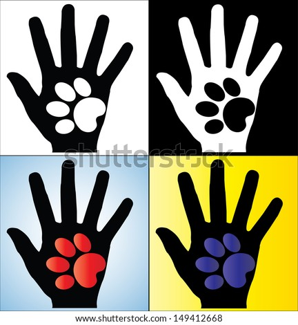 Concept Illustration of Human Hand Silhouette holding a paw of a Dog or a Cat - stock vector