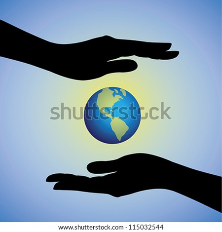 Concept illustration of protecting/saving earth from pollution, degradation & global warming. The graphic contains female hands silhouette protecting earth/planet. - stock vector