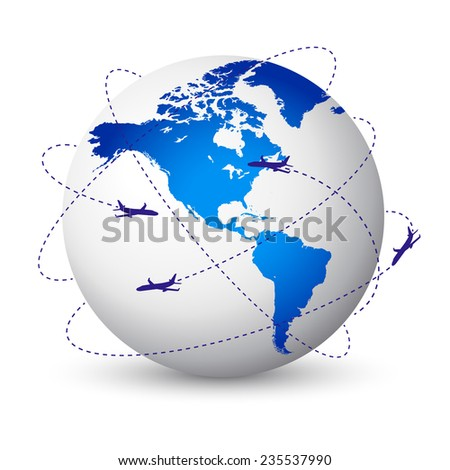 Concept illustration of the planet Earth with airplanes flying around - stock vector