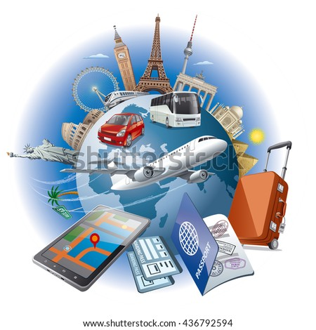 concept illustration of travel around the world famous landmarks by transport - stock vector