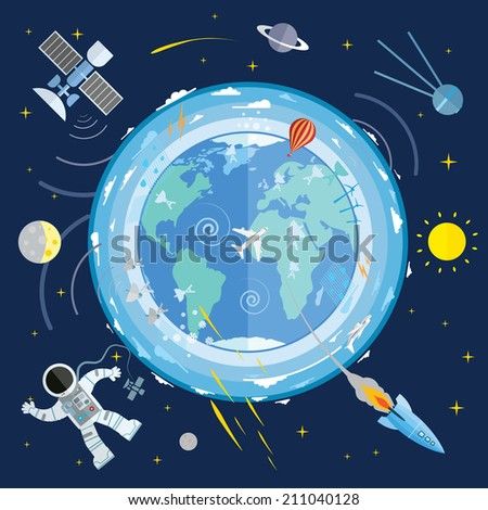 Concept illustration of various space elements. - stock vector