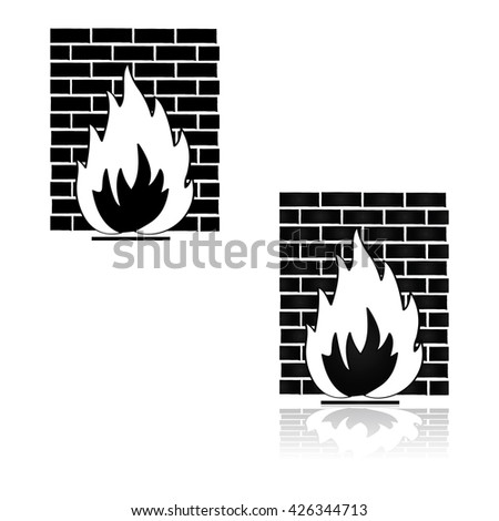 Concept illustration showing a fire in front of a wall, representing a firewall