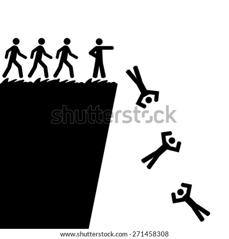 Concept illustration showing a person telling others to jump off a cliff - stock vector
