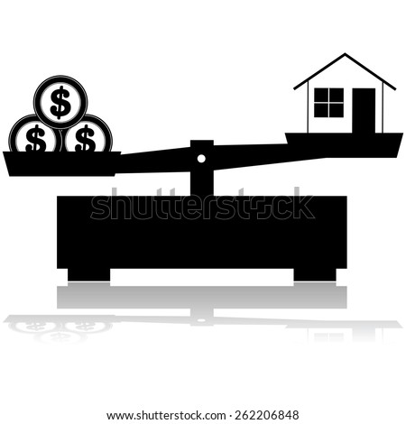 Concept illustration showing a scale balancing a house and its price, represented by three coins - stock vector