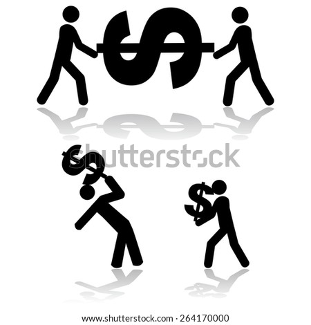 Concept illustration showing people carrying a dollar sign around - stock vector