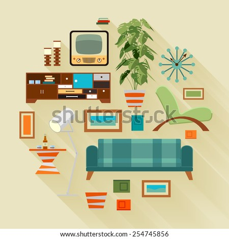 Concept Illustration With The Living Room Stuff. Suitable For Advertising  And Promotion
