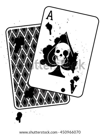 Concept Image, An Ace of Spades with a Skull and Splatters