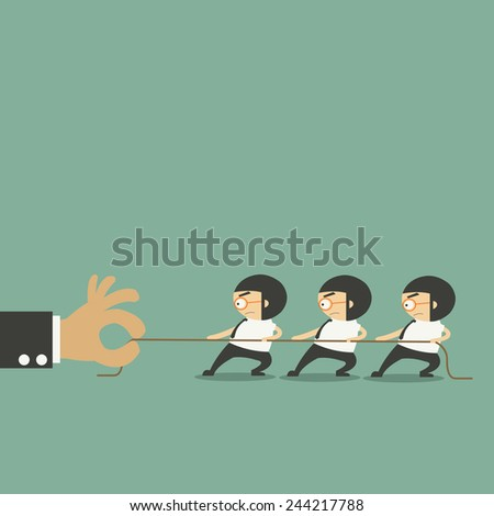 Concept image of business team using a rope as an element of the teamwork  - stock vector