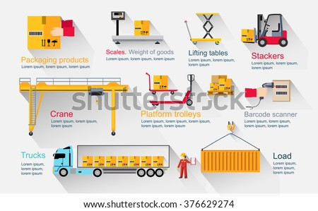 Concept infographics equipment warehouse. Delivery and cargo transportation, shipping service, industry freight and package, logistic industrial, export and distribution production illustration - stock vector