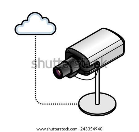 Concept: Internet of Things. A connected video / security camera. - stock vector