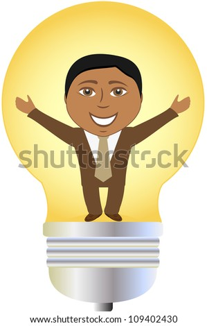concept isolated successful afro american businessman in bulb - stock vector