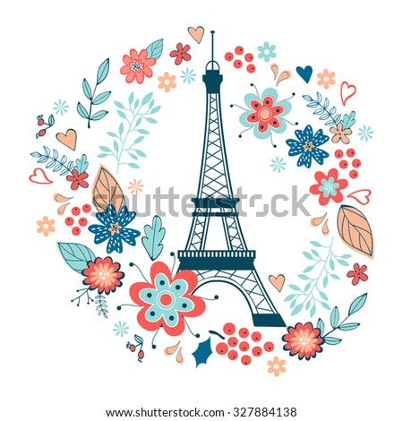 Concept love card with Eiffel tower and floral wreath. Vector illustration - stock vector