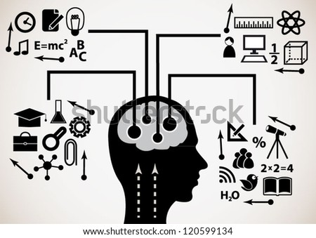 Concept man education, generation of knowledge - stock vector
