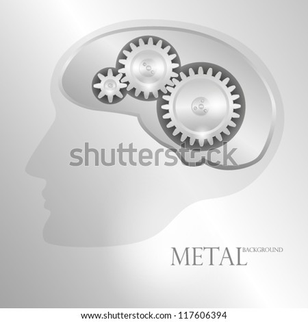 Concept metal background with schematic representation of the human head with a mechanical brain. EPS10 Vector. - stock vector