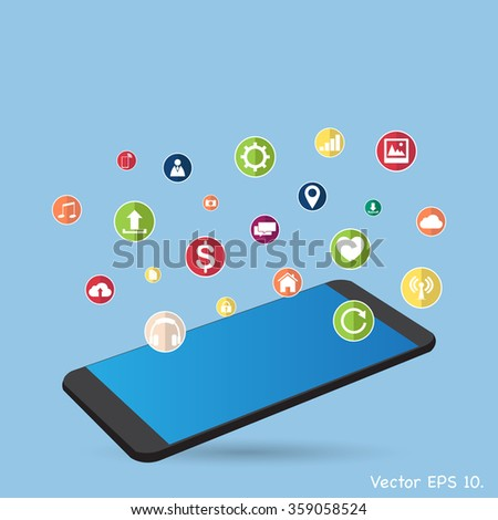Concept Mobile phone with Web icons, Business icons and Technology icons for technology and business concept, Vector Illustration EPS 10. - stock vector