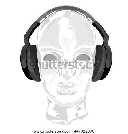 Concept music. An abstract vector for man listening music with headphones. Artistic handdraw design. Vector illustration