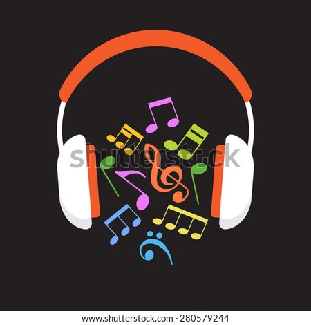 Concept music. Headphones and musical notes - stock vector