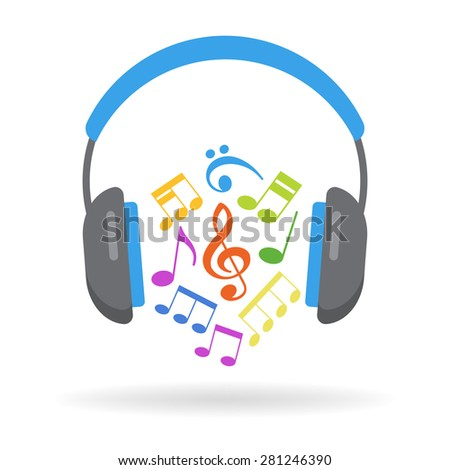 Concept music. Headphones and musical notes. File is saved in AI10 EPS version. This illustration contains a transparency  - stock vector