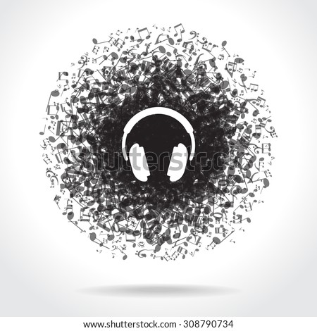 Concept music. Music background with headphones and musical notes. File is saved in 10 EPS version. This illustration contains a transparency - stock vector
