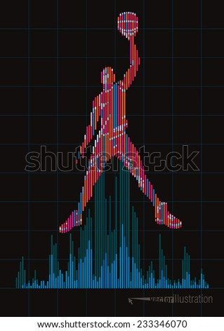 Concept of a basketball player and digital equalizer. Vector illustration - stock vector