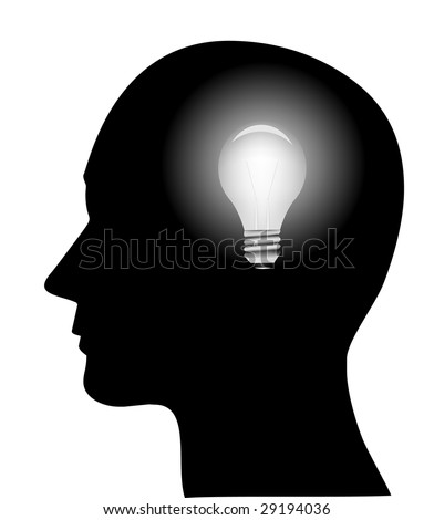 concept of a bright idea, invention, inspiration, mind