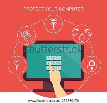 concept of a computer monitor on which key code on them human hand presses around icons indicating the code protection from viruses. from hacking, hackers - stock vector