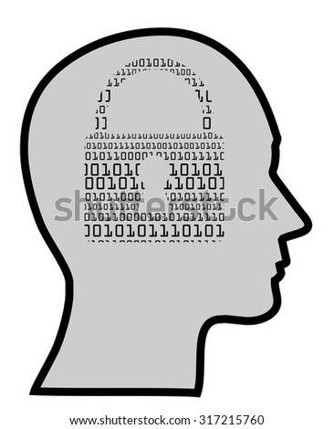 concept of a digital mind of IT specialist, vector - stock vector