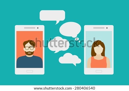 Concept of a mobile chat or conversation of people via mobile phones. Can be used to illustrate globalization, connection, phone calls or social media topics. - stock vector
