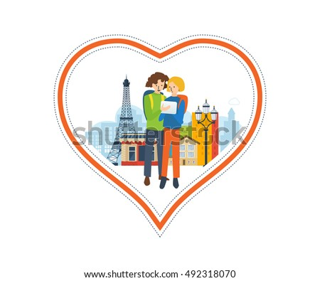 Concept of a trip to France and love for this city. The feeling of love to the city. Greeting card. The vector illustration can be used for a banner, commercial information