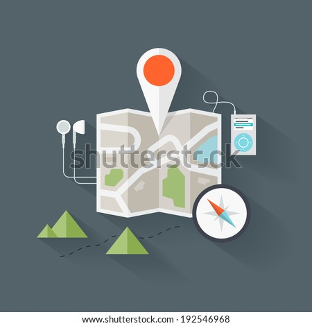Concept of abstract street map with navigational elements and symbol. Flat design style modern vector illustration. Isolated on stylish background. - stock vector