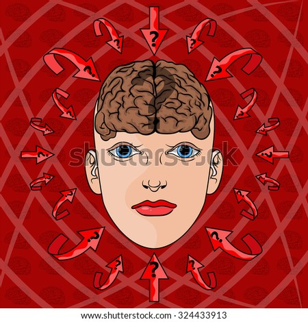 concept of addressing issues in women's head. vector. illustration.