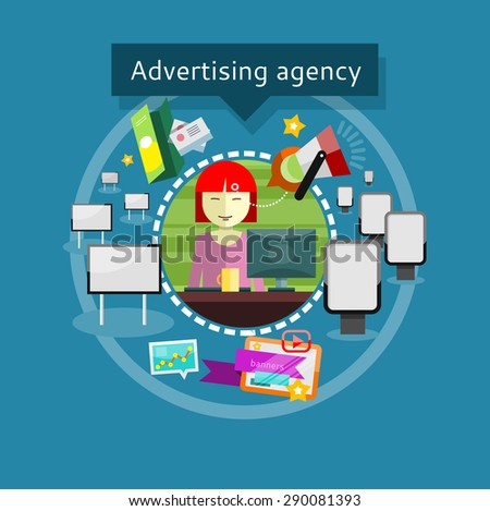 concept of advertising agency lady advertising agent in office presents ideas and types of promotional advertising agency office advertising