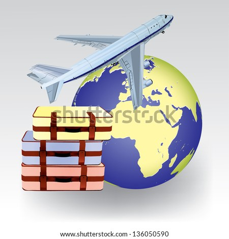 Concept of air travel with model of Earth, airplane and luggage isolated on white background.