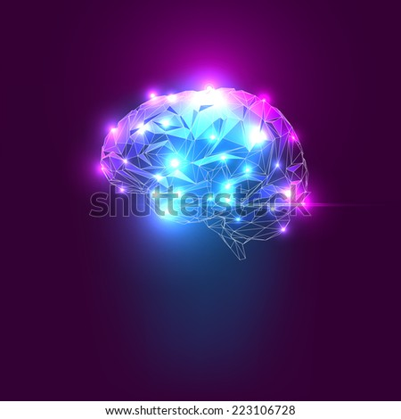 Concept of an Active Human Brain on a Dark Background - stock vector