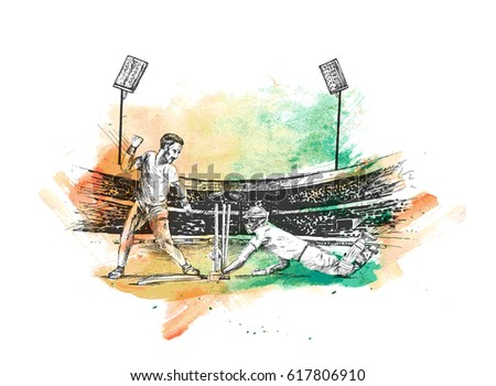 Concept of Batsman playing in Cricket stadium cricket championship, Hand Drawn Sketch Vector illustration.